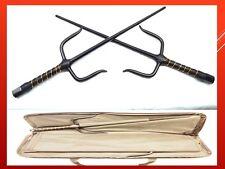 Martial Arts Karate Ninja Sword Black Sais w Collection Carrying Zipped Bag Case