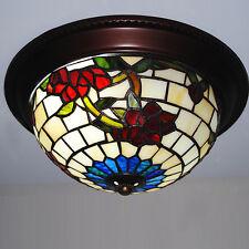 "10"" Vintage Tiffany Flush Mount Ceiling Light Glass Lamp Shade Living Bedroom"