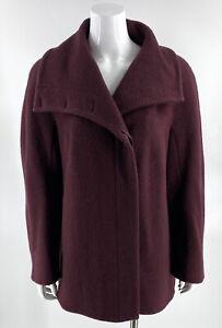 Hilary Radley Womens Coat Size 16 Burgundy Red Alpaca Wool Blend Button Up