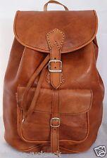 066 Large Vintage Style Real Genuine Leather Bag Rucksack Backpack Brown Tan ,