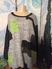 Denim 24/7 Plus 2X New Gray Print Mohair Mix Oversize Long Sleeve Tunic Sweater