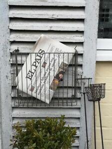 Wire Magazine Newspaper Wall Hanging Basket, Rustic Zinc Metal Storage Basket