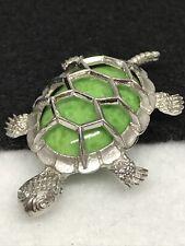 Vintage Beau Signed Sterling Silver Green Art Glass Tortoise Turtle Brooch