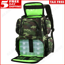 Tackle Backpack Multifunctional Fishing Utility Bag Rain Cover & 4 Gear Tray New