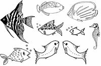 Unmounted Rubber Stamps Fish set of 9 images