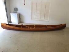 Wood Strip Canoe 18ft W/ Oars And Full Cover