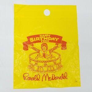 McDonalds happy birthday from Ronald McDonald party gift bag plastic yellow