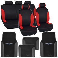 Black & Red Car Seat Covers w/ Split Bench & Light Red Two Tone Floor Mats
