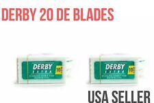 20 DERBY BLADES  PLATINUM COATED Double Edge Safety Razor Shaving Disposable