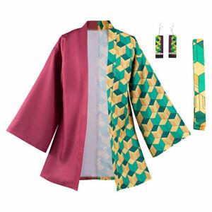 Demon Slayer Tomioka Giyuu Cosplay Costumes Coat With Earrings Belt Outfit