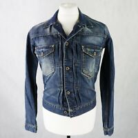 Mens RALPH LAUREN Denim Trucker Jacket size SMALL Mid blue Distress jean jacket