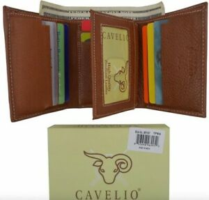 The Genuine Cowhide Leather Trifold ID Credit Card Men's Wallet
