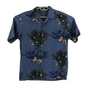 Tommy Bahama Mens S Silk Wool Blend Palm Tree Christmas Beach Camp Shirt