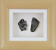 BabyRice Newborn 3D Baby Casting Kit Beech Wood Effect Box Frame Pewter Casts