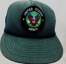 VTG UNITED STATES ARMY TRUCKER HAT EMBROIDERED PATCH GREEN CAP SNAPBACK L@@K