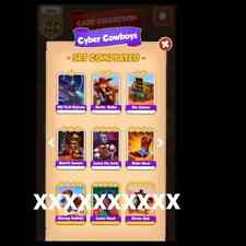 coin master cards cyber cowboys 6 white cards (1 each )