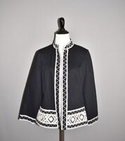 CHICO'S NEW $139 Black Artisan Tapestry Trim Open Jacket 0 / Small