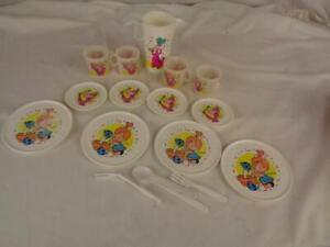 Vintage Flintstones Plastic Toy Tea Set Dishes- Chilton Toys