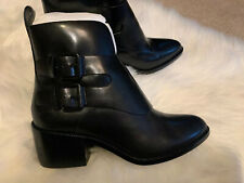 NEW Alexander Wang Erin Black Leather Buckles Booties  Boots 37 / 7 Unique.