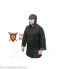 CHAINMAIL MEDIEVAL HAUBERK 10MM BUTTED LARGE SHIRT WITH HOOD BLACK FINISH ARMOR