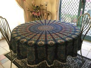 Round table cloth 190cm diameter 100% Cotton Bohemian Blue with Pom Poms