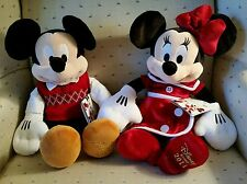 """Disney Store Holiday 2014 Mickey and Minnie Mouse Soft 15"""" Plush toy - NEW Rare!"""