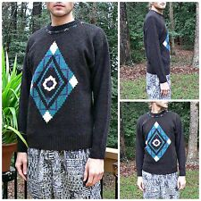 VTG 1980s Concrete SOUTHWESTERN SWEATER Native Tribal Aztec Evil Eye MENS SIZE M