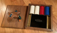 Vintage Collector's Poker Set in Heavy Wooden Mallard Duck Top Box Sealed Cards