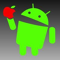 Android Eating an Apple Vinyl Window Sticker Decal