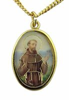 Enameled Saint Francis of Assisi Medal with Holy Prayer Card, 1 Inch