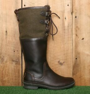 """UGG 'Elsa' Brown Leather Olive Green Wool Shearling Lined 14"""" Tall Boots Sz. 5.5"""