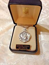 "CREED NEW ST CHRISTOPHER STERLING SILVER Medal 20""Stainless S. Gift Boxed SS2162"