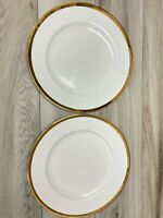"Pier1 Imports Gold Band Porcelain Dinner Plates 1/4"" Gold Band on White Set of 2"