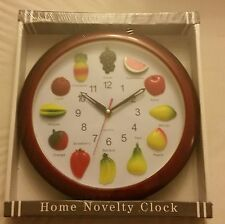 """Rare Home Novelty Plastic Wall Clock, 10"""", FRUITS, with 3D fruits"""