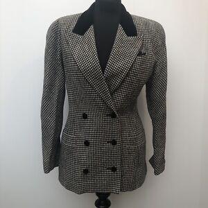 1980s Escada by Margaretha Ley Gingham Wool Blazer Jacket Black White Size 10