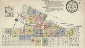 Pendleton, Oregon ~Sanborn Map© sheets with 50 maps~1884 to 1910 in color on CD