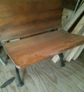 Vintage Wood & Wrought Iron School Desk Ink Well, # 2 Stamped Metal leg & ASC 1