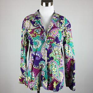 Vera Bradley Womens Sleepshirt S Paisley Purple Green Button Up Cotton
