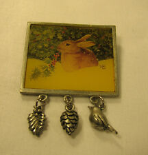 Marjolein Bastin Rabbit Bunny Vintage Brooch Hallmark Pin With 3 Charms