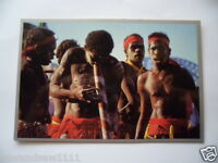 VINTAGE COLOUR POSTCARD ABORIGINAL MEN CORROBOREE WITH DIDGERIDOO