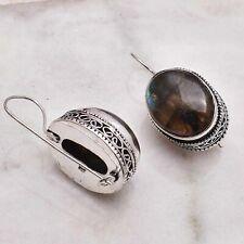 "Earrings Jewelry 1.24"" Ae 50588 Labradorite Handmade Drop Dangle Antique Design"