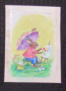 EASTER Bunny Rabbit & Birds w Umbrella Painting Egg 6x8 Greeting Card Art #E2416