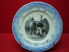 Belle ancienne assiette : Ces bons parisiens à la campagne N° 1 Creil Montereau