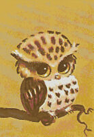 1960s Retro Vintage Owl in Tree Cross-Stitch DIGITAL Pattern Chart Needlepoint