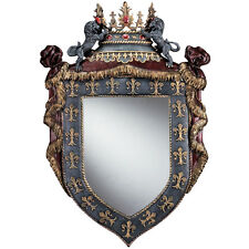 Majestic Winged Lions Regal Crown Royal Fleur-de-lis Shield Sculpt Wall Mirror