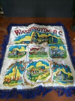 Vintage WASHINGTON DC Souvenir Satin Pillow Cover Case Blue Fringe