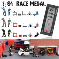 1:64 Race Medal Figure Repairing Street People Scenario Model For Matchbox