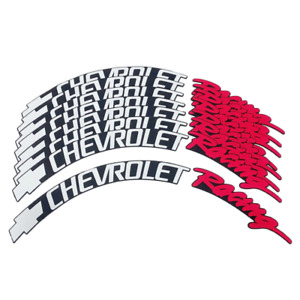 "Chevrolet Racing Tire Lettering Permanent Stickers 1.25"" For 16""-23"" 8 Pcs"