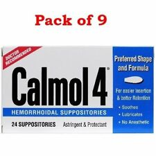 Calmol 4 Hemorrhoidal Suppositories Astringent & Protectant 24 Ea (Pack of 9)
