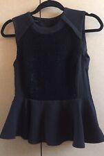FAB BNWT ELIE THARI Black Peplum Top, Size XS, Soft Sequins UK 6-8
